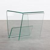 Quadratischer Beistelltisch mit Zeitschriftenständer aus Glas (50x50 cm) Vidre Line, Miniaturansicht 1