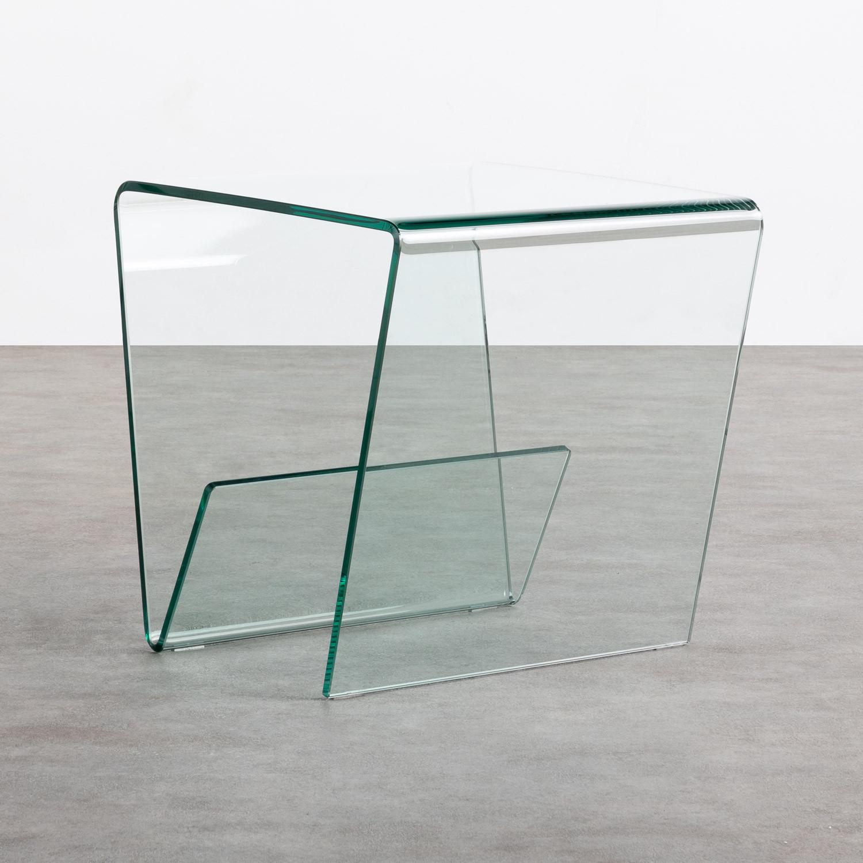 Quadratischer Beistelltisch mit Zeitschriftenständer aus Glas (50x50 cm) Vidre Line, Galeriebild 1