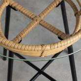 Runder Beistelltisch aus synthetischem Rattan und Glas (45x45 cm) Balar, Miniaturansicht 4
