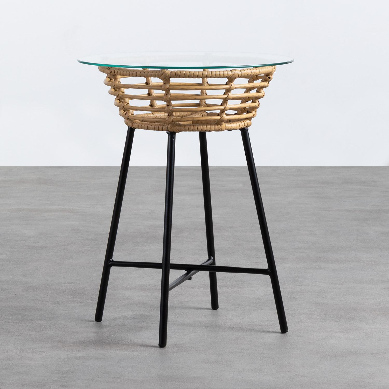 Runder Beistelltisch aus synthetischem Rattan und Glas (45x45 cm) Balar, Galeriebild 1