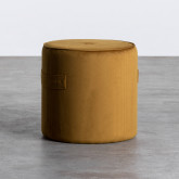 Runder Pouff aus Cord Velluto, Miniaturansicht 1
