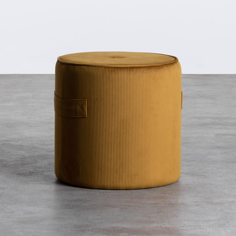 Runder Pouff aus Cord Velluto, Galeriebild 1