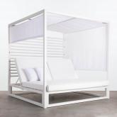 Balinesisches Liegebett aus Stoff und Aluminium Mersia, Miniaturansicht 4