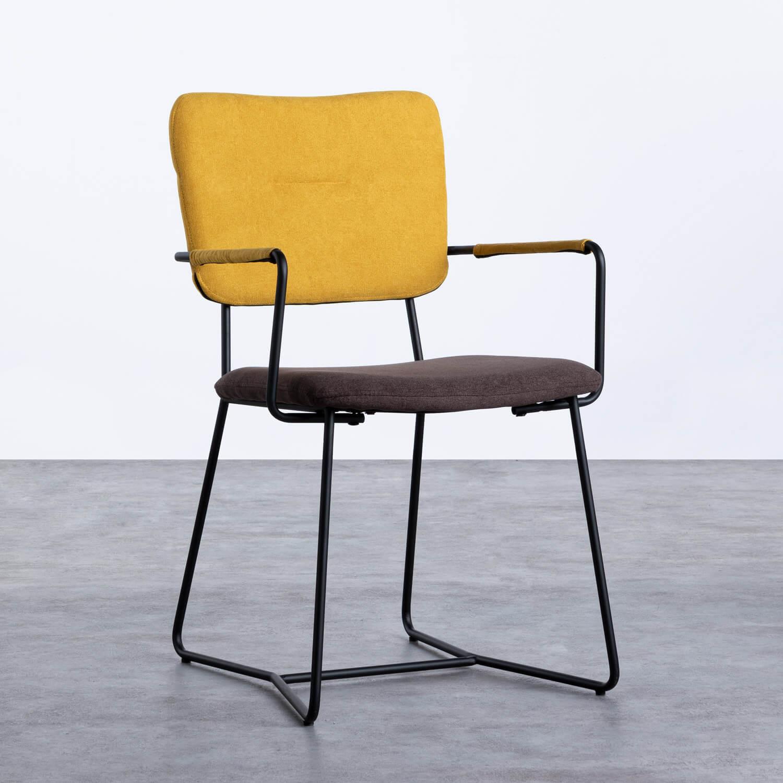Esszimmerstuhl aus Textil und Metall mit Armlehnen Lala, Galeriebild 1