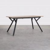 Ausziehbarer Esstisch aus MDF und Metall (160-200x90 cm) Vedra, Miniaturansicht 1