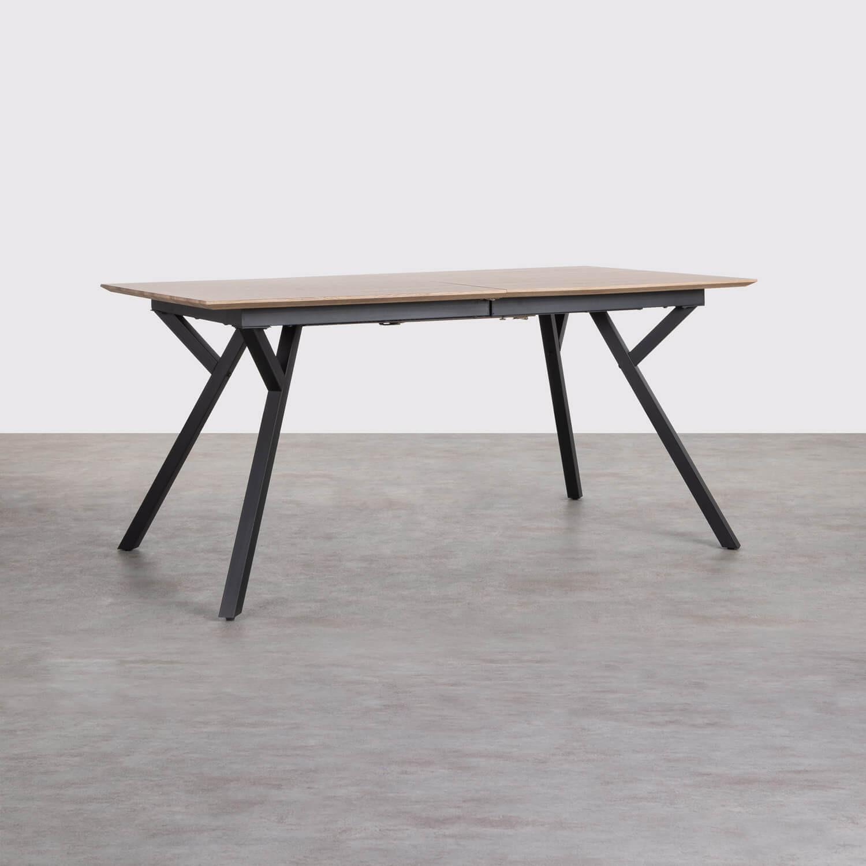 Ausziehbarer Esstisch aus MDF und Metall (160-200x90 cm) Vedra, Galeriebild 1