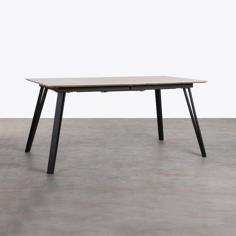 Ausziehbarer Esstisch aus MDF und Metall (160-200x90 cm) Nates, Galeriebild 1