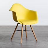 Esszimmerstuhl aus Polypropylen und Holz Fine Arms mit Kissen, Miniaturansicht 1
