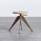 Niedriger/mittelhoher Hocker aus Stahl und Holz Pats (46-56,5 cm), Miniaturansicht 1