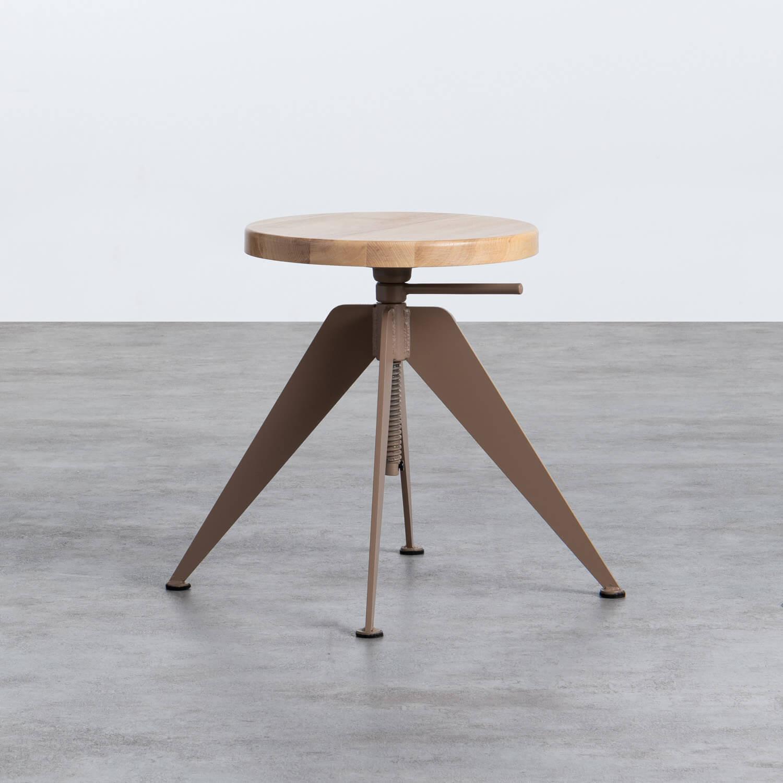 Niedriger/mittelhoher Hocker aus Stahl und Holz Pats (46-56,5 cm), Galeriebild 1