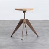 Niedriger/mittelhoher Hocker aus Stahl und Holz Pats (46-56,5 cm), Miniaturansicht 3