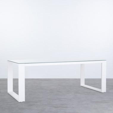 Rechteckiger Außentisch aus Aluminium Nedra