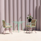 Quadratischer Outdoor-Tisch aus Stahl und Glas (67,5x67,5 cm) Sagax, Miniaturansicht 2