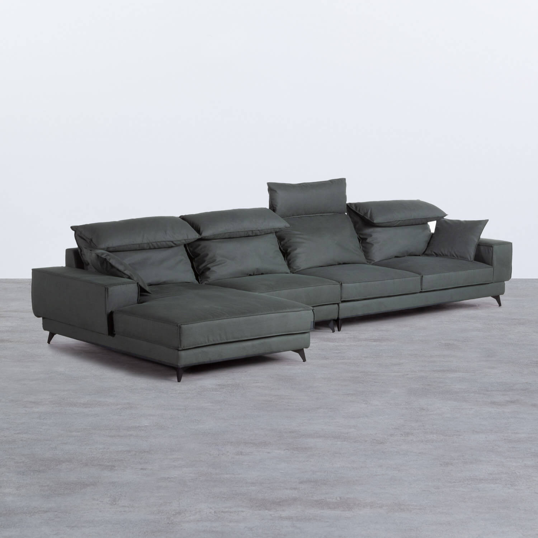 Sofa Chaiselongue links 4-Sitzer- aus Nobuck Textil Goldin, Galeriebild 1