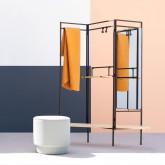 Garderobenständer mit Spiegel aus Metall und Holz (180x130 cm) Lumiel, Miniaturansicht 2