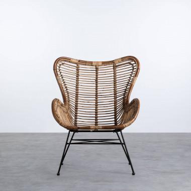 Sessel mit Armlehnen aus Natur-Rattan Tamam