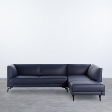 Sofa Chaiselongue links 4-Sitzer- aus Kunstleder Daka