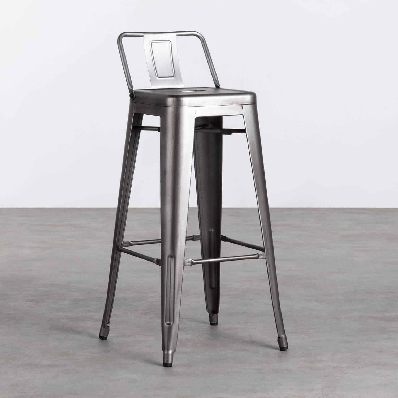 Hoher Hocker mit Rückenlehne aus Stahl Industrial Vecchio (77 cm), Galeriebild 1
