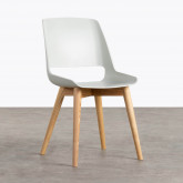 Esszimmerstuhl aus Polypropylen und Holz Ilun, Miniaturansicht 1