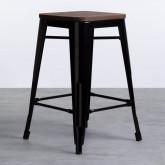 Niedriger Hocker aus Stahl Industrial Wood Edition Schwarz (59 cm), Miniaturansicht 1