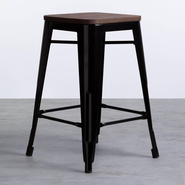 Niedriger Hocker aus Stahl Industrial Wood Edition Schwarz (59 cm), Galeriebild 1