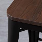 Niedriger Hocker aus Stahl Industrial Wood Edition Schwarz (59 cm), Miniaturansicht 4