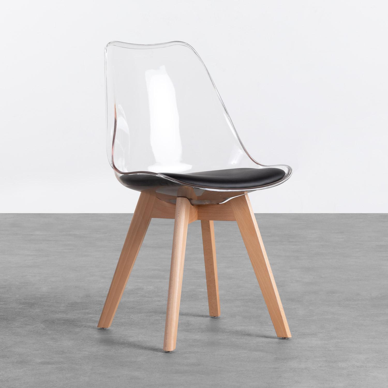 Esszimmerstuhl aus Polycarbonat und Holz Hardwood Transparent, Galeriebild 1