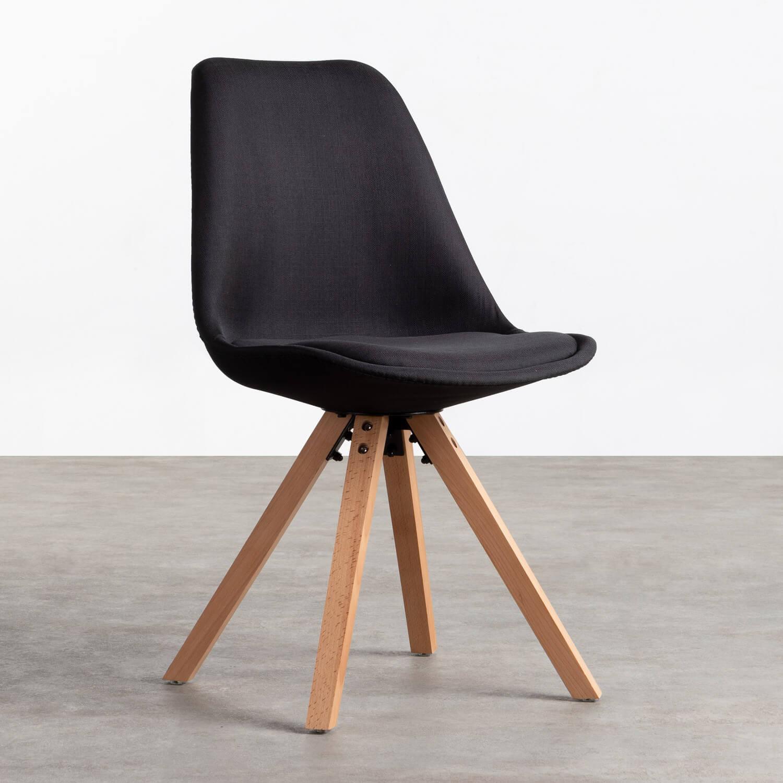Esszimmerstuhl aus Stoff und Holz Stella Square Total Fabric, Galeriebild 1