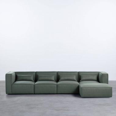 Modulares Sofa mit Pouff aus Nubuk-Kunstleder Kilhe