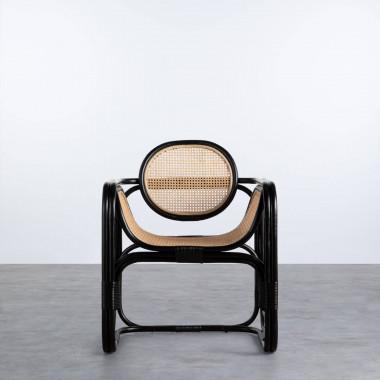 Sessel mit Armlehnen aus Natur-Rattan Emba