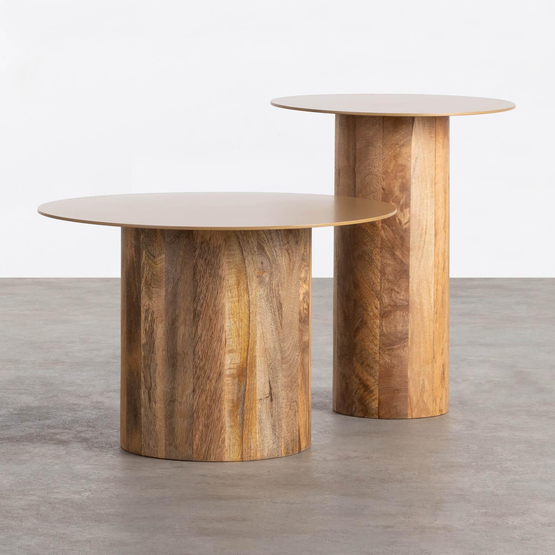 Set aus 2 Beistelltischen aus Holz und Metall Erza, Galeriebild 1