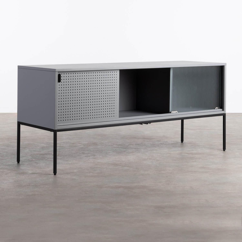 TV-Schrank aus laminiertem Stahl und Glas Otse, Galeriebild 1