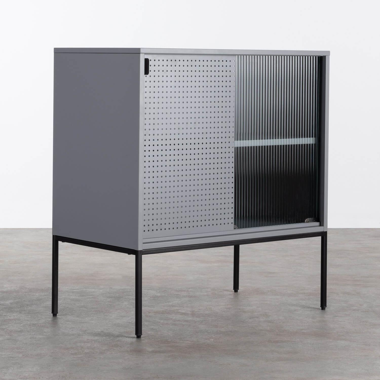 Niedriges Sideboard aus laminiertem Stahl und Glas Otse, Galeriebild 1