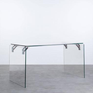 Schreibtisch aus gehärtetem Glas und Edelstahl Yera