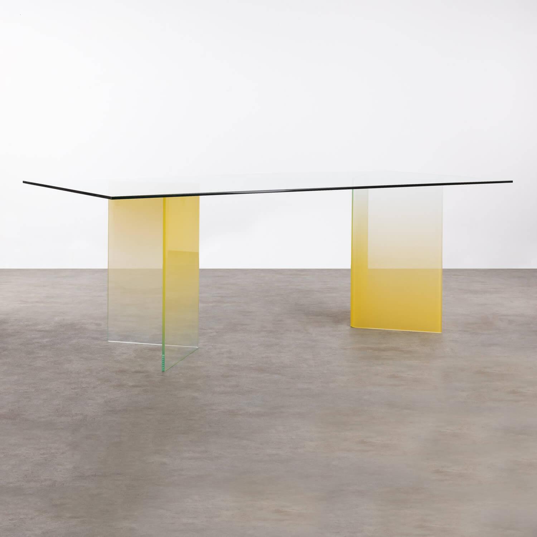 Rechteckiger Esstisch aus gehärtetem Glas (210x100 cm) Audra, Galeriebild 1