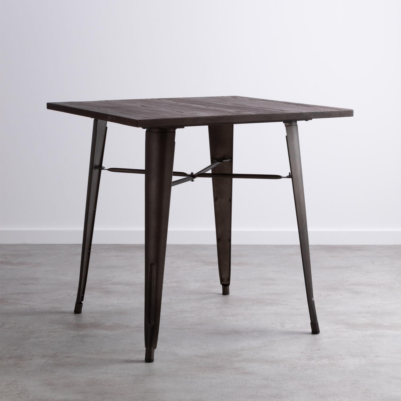Esstisch aus Ulme und Stahl (80x80 cm) Industrial, Galeriebild 1