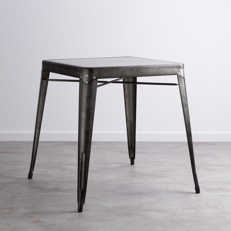 Esszimmertisch Quadratisch aus galvanisiertem Stahl (66x66 cm) Jevi, Galeriebild 1