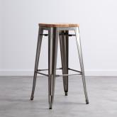 Hoher Hocker aus galvanisiertem Stahl Industrial Wood (76 cm), Miniaturansicht 1