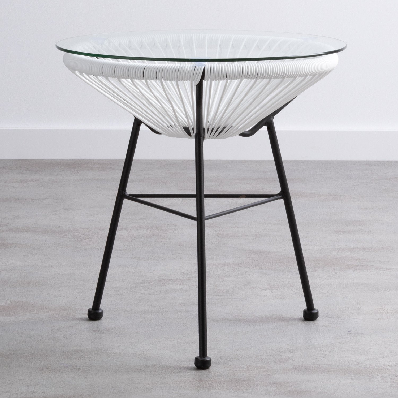 Beistelltisch Rund aus PVC und Glas (Ø45 cm) Riviera, Galeriebild 1