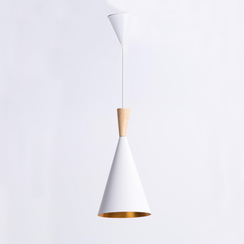 Lampe aus Stahl und Holz Gold, Galeriebild 1