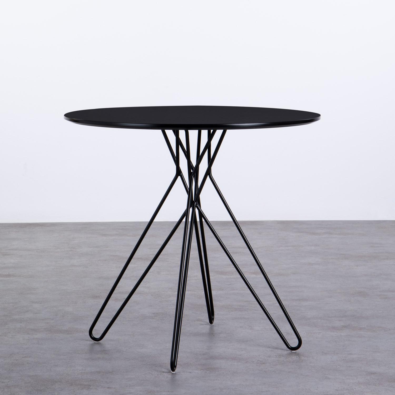 Esszimmertisch Rund aus MDF und Metall (Ø80 cm) Buk, Galeriebild 1