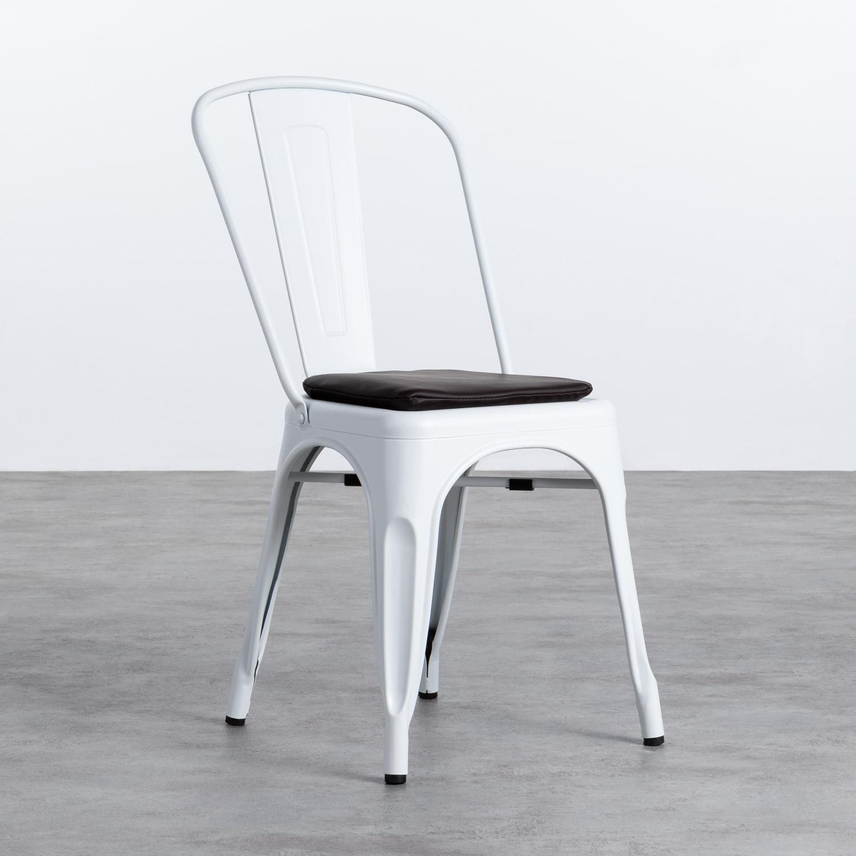 Quadratischer Kissen aus Kunstleder für Stuhl Industrial, Galeriebild 1