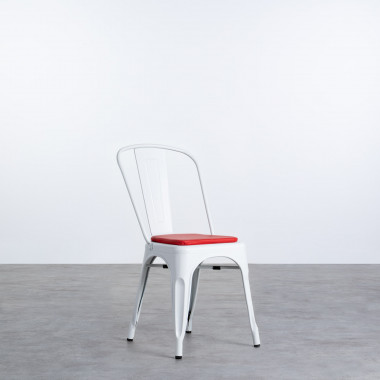 Quadratischer Kissen aus Kunstleder für Stuhl Industrial