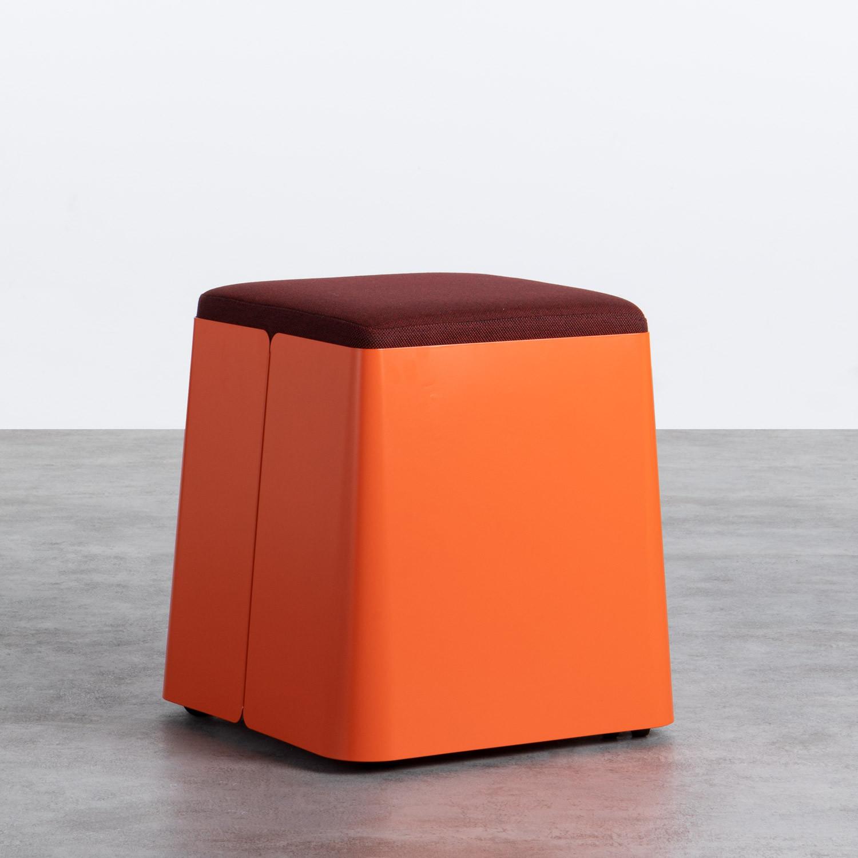 Quadratischer Pouff  mit Stauraum und Rädern aus Metall und Stoff Graos, Galeriebild 1