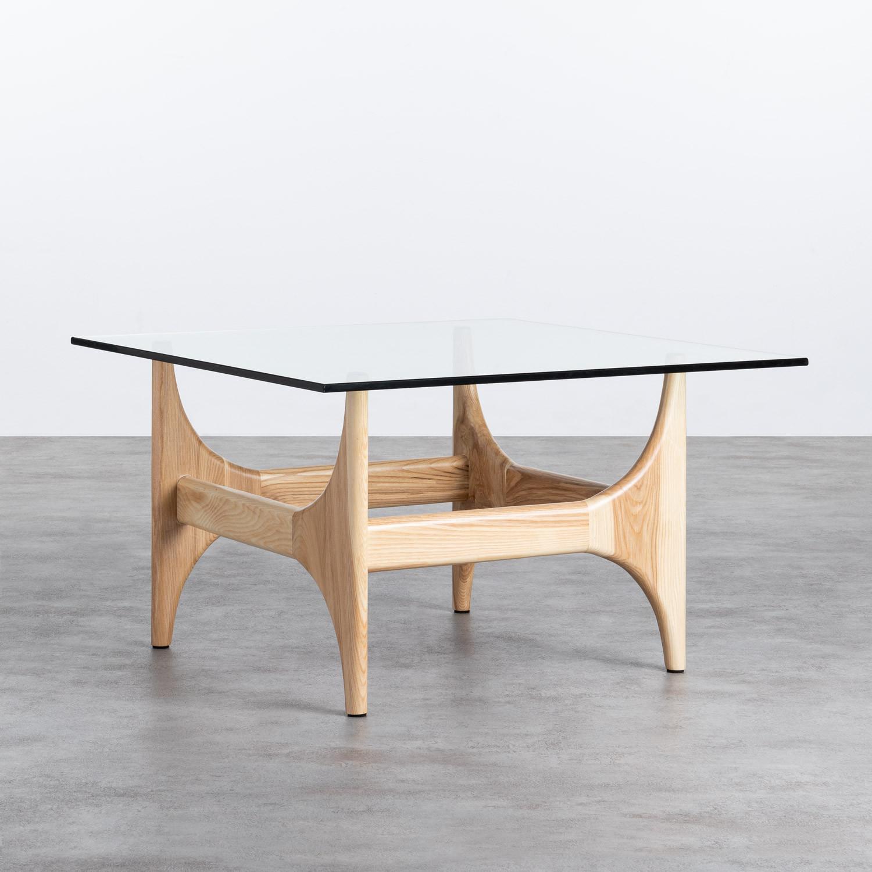 Couchtisch Quadratisch aus Holz und Glas (80x80 cm) Mavhy, Galeriebild 1