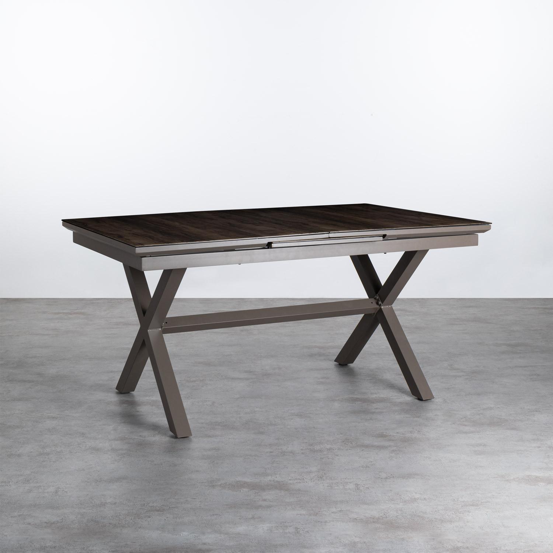 Ausziehbarer Esstisch aus Aluminium und Glas (160-210x100 cm) Orson, Galeriebild 1