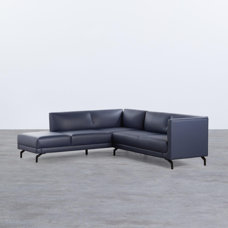 Sofa Chaiselongue rechts 4-Sitzer- aus Kunstleder Daka, Galeriebild 1