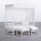 Balinesisches Sofa mit 2 Hockern aus Stoff und Aluminium Deira, Miniaturansicht 1