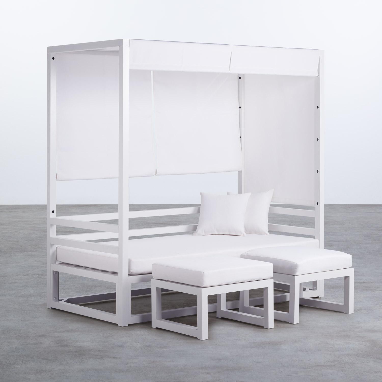 Balinesisches Sofa mit 2 Hockern aus Stoff und Aluminium Deira, Galeriebild 1