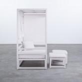 Balinesisches Sofa mit 2 Hockern aus Stoff und Aluminium Deira, Miniaturansicht 3